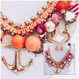 New - Gold-tone Peach/Pink Nautical Necklace Set